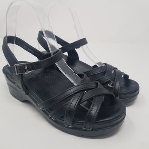 Dansko Black Leather Strappy Sandals